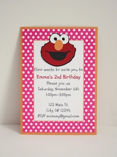 Girl version of an elmo birthday party invitation by 5M Creations.