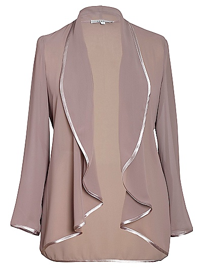 Buy Chesca Chiffon Waterfall Jacket, Cappucino online at JohnLewis.com - John Lewis