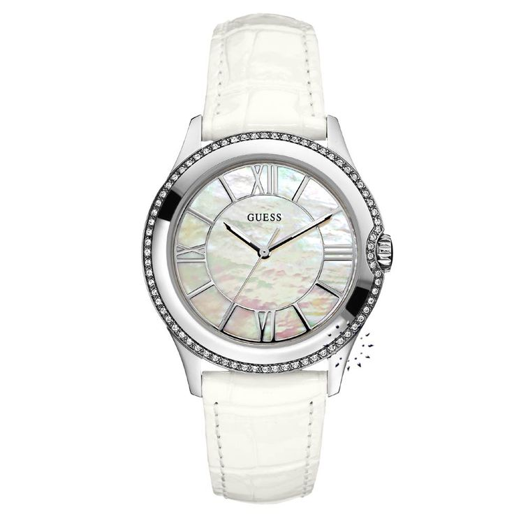 GUESS Crystal Ladies White Leather Strap Η τιμή μας: 139€ http://www.oroloi.gr/product_info.php?products_id=26030