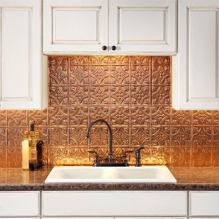 The 18-inch by 24-inch backsplash panels are easy to install and can be cut with a scissors or tin snips to create the fit that you require. 6-Inch by 6-inch samples are available for purchase.