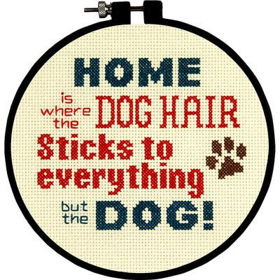 """A cute cross stitch kit that any dog-lover can relate to! Stitch Wits Pet Hair Mini Counted Cross Stitch Kit-6"""" Round 14 Count"""