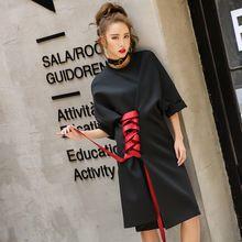 High Street Dress Nouveau 2017 Femmes D'été De Mode À Manches Courtes Rouge Designer Laçage Lâche Noir Nouveauté Dress(China (Mainland))