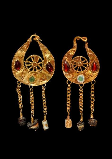 Byzantine Gold Earrings, 5th-7th Century AD.  With garnet and glass cabochons and glass beads.