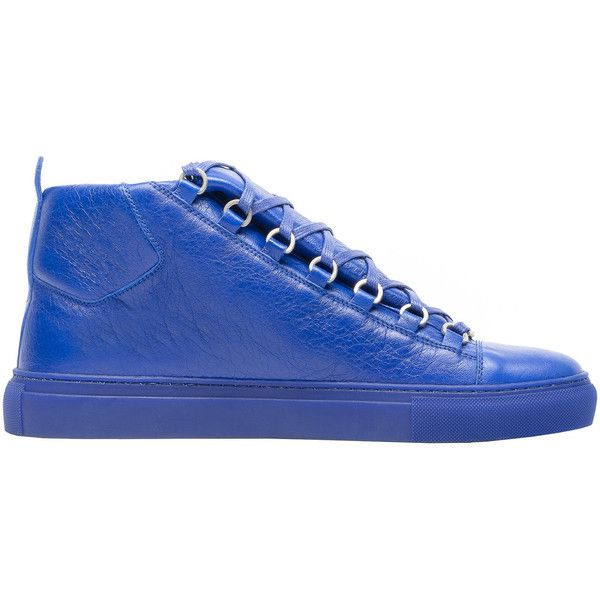 Balenciaga High Sneakers ($585) ❤ liked on Polyvore featuring men's fashion, men's shoes, men's sneakers, electric blue, man shoes arena sneakers, balenciaga mens shoes, balenciaga mens sneakers, royal blue mens dress shoes and mens fur lined shoes