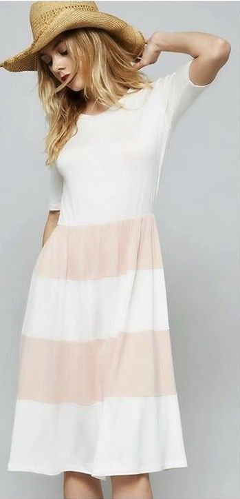 ~~~BLUSH is THE color for spring. Loving this blush and white striped dress. Try STITCH FIX today! Just click on the picture to get started with your own personal stylist. Stitch fix spring. Stitch fix april. Stitch fix summer. #sponsored
