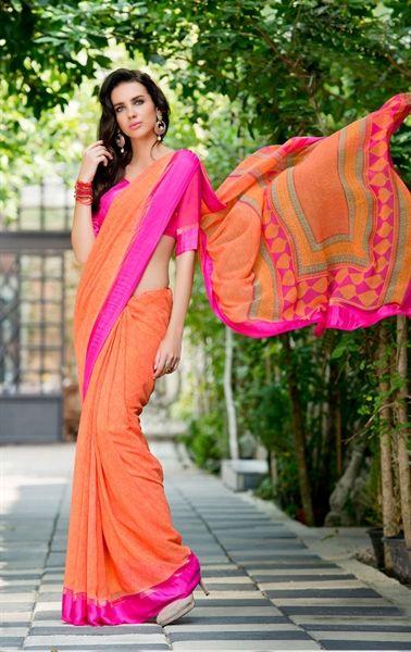 Picture of Mystical Orange Printed Saree