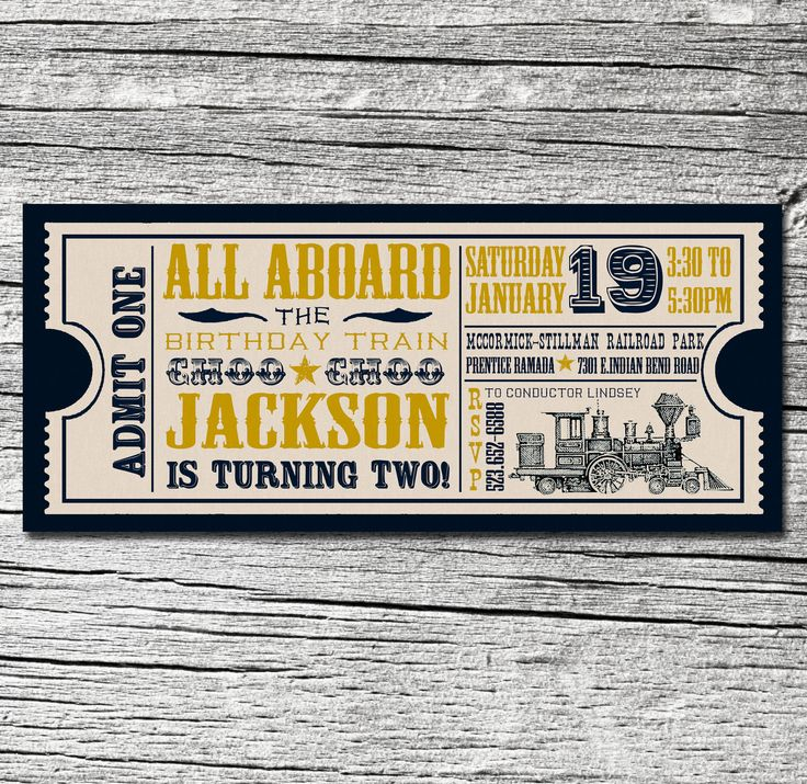 Train Ticket Invitations Pack of 25. , via Etsy.