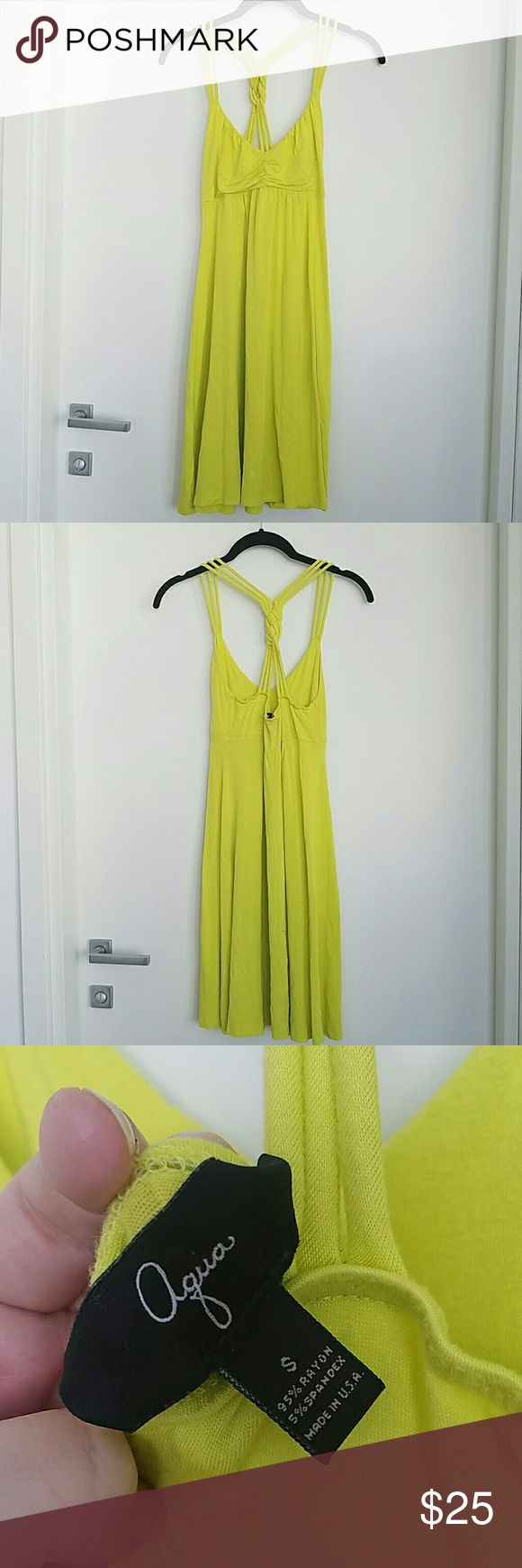 "Neon Yellow Beach Dress Bloomingdales semi-Sheer bright yellow beach cover up summer dress 🌞 fits true to size.  About 36"" from top of straps to hem, so not a super short dress.  Bought on posh but I didnt realize it was sheer.  Never worn 💕 Offers welcome through the offer button 😊 no trades no PayPal Aqua Dresses Midi"