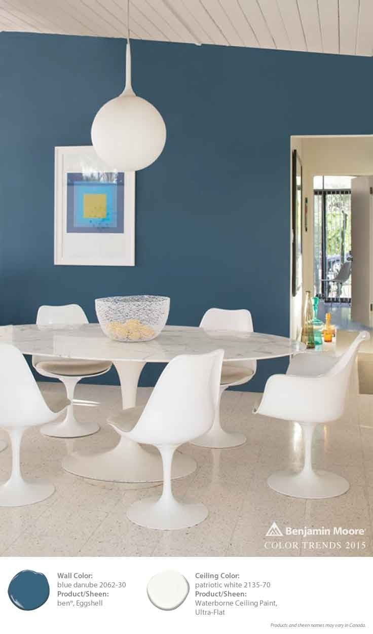 Patriotic White (on the ceiling) pops against these Blue Danube walls. [ad]