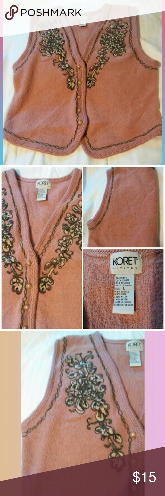 Koret plush embellished vest~sz.Lg rose buttons Really soft and cozy women's plush sweater vest. Very pretty for holidays and a warm layering piece for your wardrobe. Rose pearl buttons. In excellent condition Rose/Salmon color Women's Large Koret Sweaters Cardigans