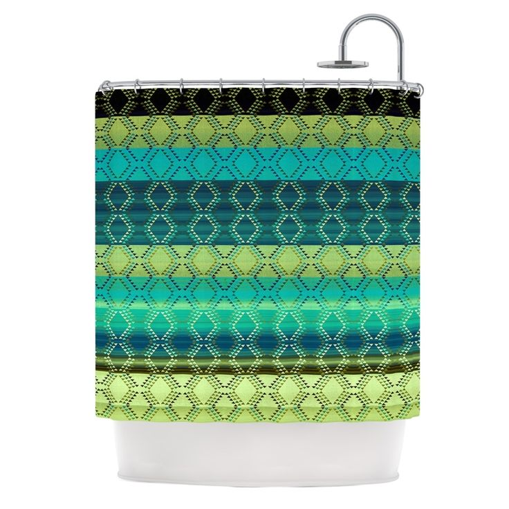 "Kess InHouse Nina May ""Denin Diamond Gradient Green"" Turquoise Emerald Shower Curtain"