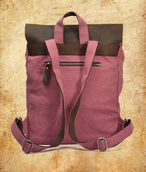 http://www.trendfolder.com/  @ Women Gril vintage retro genuine leather canvas backpack rucksack school bag | Genuine Leather Canvas Bag Wholesale #canvas shoulder bag  canvas backpack -  #rucksack