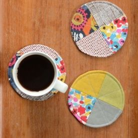 Whip up these sweet and simple coasters in under an hour, using just a few bits of fabric.