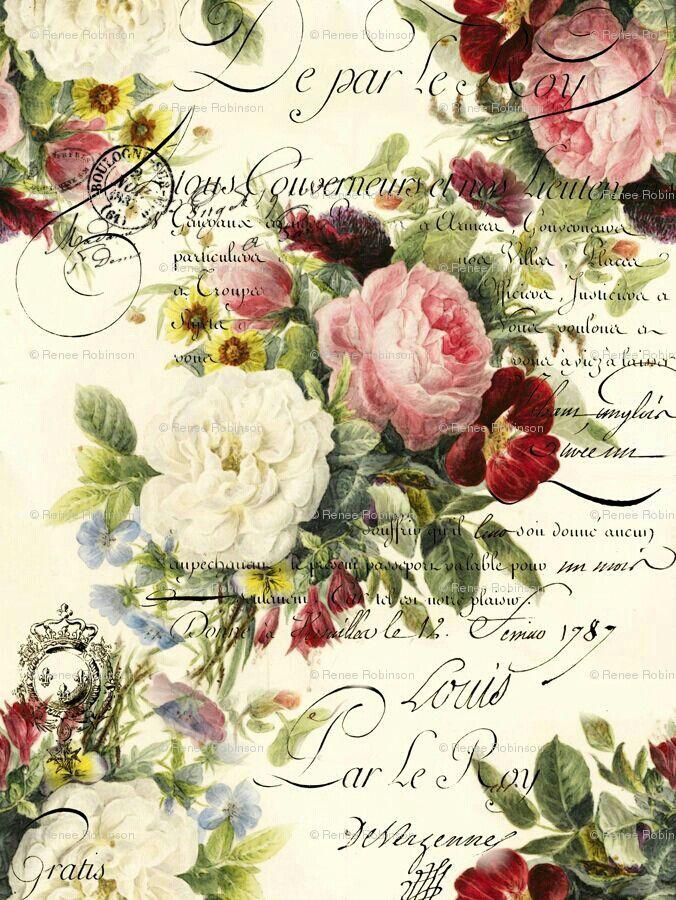 floral script print