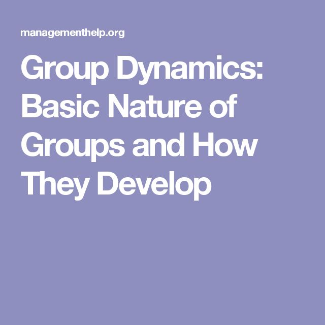 Group Dynamics: Basic Nature of Groups and How They Develop