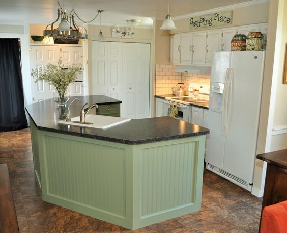 Mobile home kitchen remodel. CAN'T TELL IT'S A MOBIL HOME. NICE QUAINT & QUITE SPACIOUS KITCHEN.
