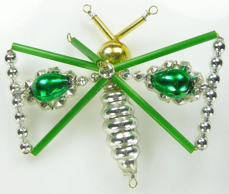 """Old Blown Hollow Glass Beads Wired Czech Christmas Decoration Green Butterfly 3"""""""