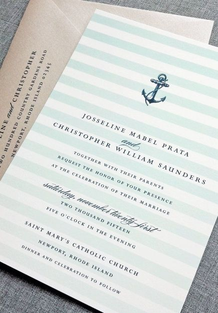 Navy blue & mint nautical wedding invitation. Not too crazy about the stripes, love the anchor. strips + anchor