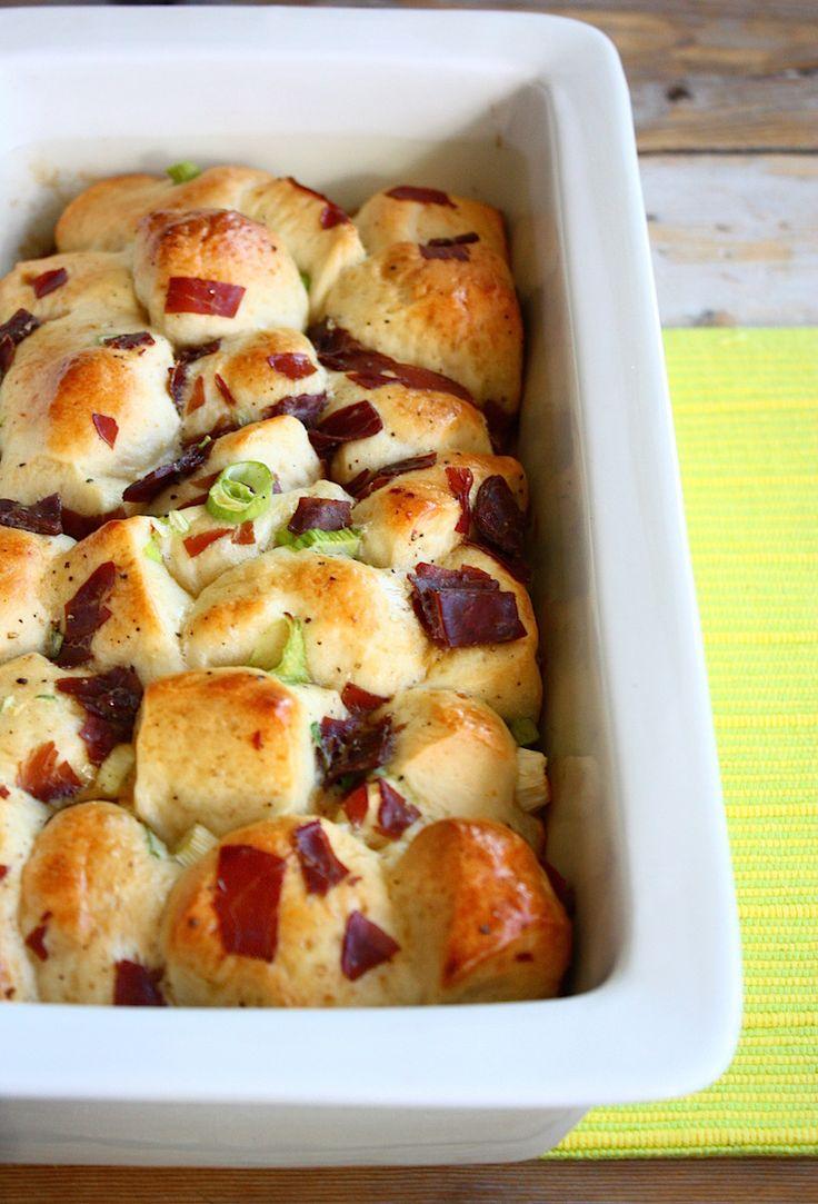 Brunchbrood met lente ui en prosciutto - Francesca Kookt