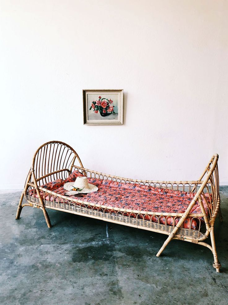 Bamboo Daybed with Wicker Rails