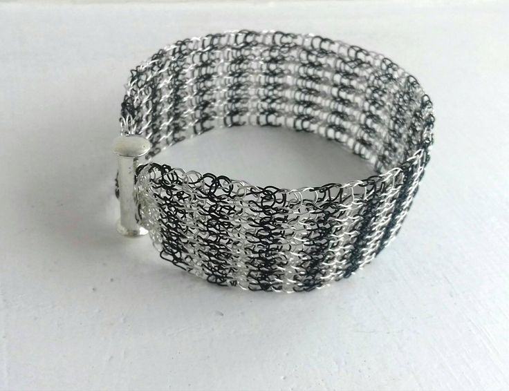 Handmade  cuff bracelet /Wire crochet bracelet / Mesh bracelet / Silver bracelet / Gold bracelet/ Silver black bracelet by KvinTal on Etsy