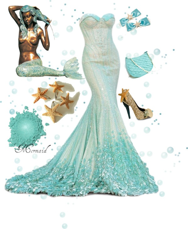 """""""Mermaid"""" by zoe-nicole ❤ liked on Polyvore  Beautiful!!!  And I have this mermaid statue by my pool!!!, this would be a great wedding dress at the beach i mean the beach outside a window. in that dress who would want to sweat"""