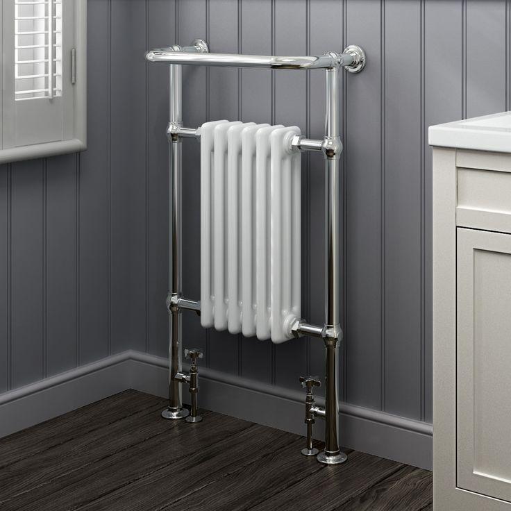 963x583mm Medium Traditional White Towel Rail Radiator - Victoria Premium