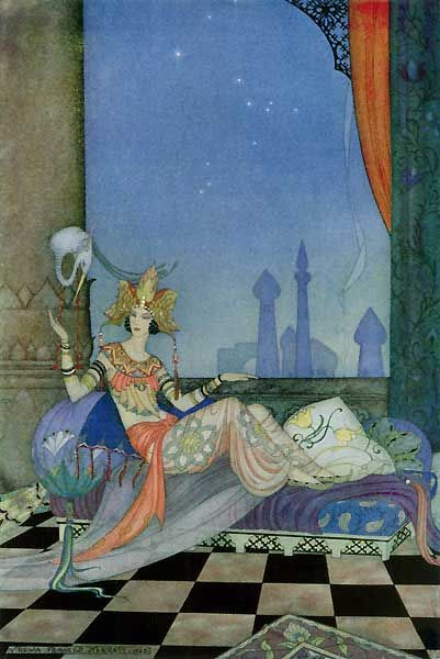 """Tap to listen.  'Sheherazade' was composed by Nikolai Rimsky-Korsakov in 1888, based on """"1001 Arabian Nights"""".  The Sultan vowed to put to death each of his wives after the first nuptial night. But Sheherazade saved her life by entertaining him with fascinating tales, told sequentially , for 'a thousand and one nights'. The Sultan, consumed with curiosity, postponed from day to day the execution of his wife, and finally renounced his evil ways entirely. Illustration by Virginia Frances…"""