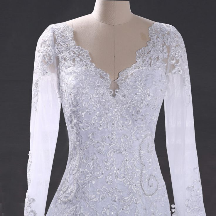 Elegant Lace Long Sleeve Mermaid Wedding Dress - Uniqistic.com