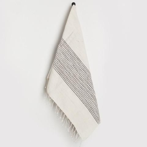 Stripes hand towel in natural with grey detailing Soft, natural hand towels with ribbed ends are a classic complement to any style. Hand-spun cotton, handwoven
