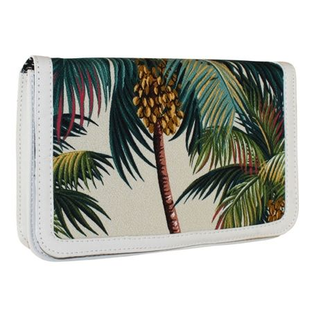 Tropicana clutch in palm trees natural fabric - hardtofind.