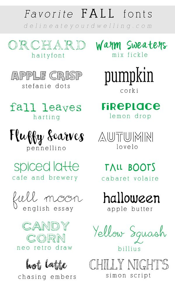 Favorite FREE Fall Fonts, Delineateyourdwelling.com