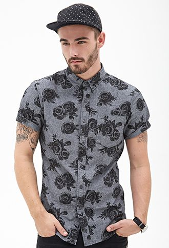Rose Print Button-Down | 21 MEN - 2000129828