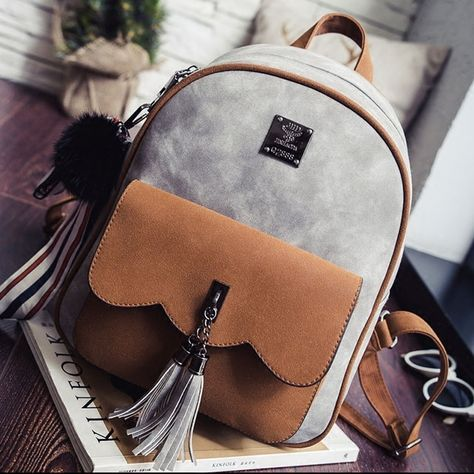 Fashion Contrast Color Frosted Girl's Rucksack Tassel Splicing