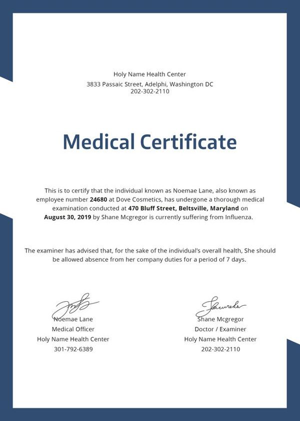 21 Medical Certificate Templates Free Word Pdf Wow