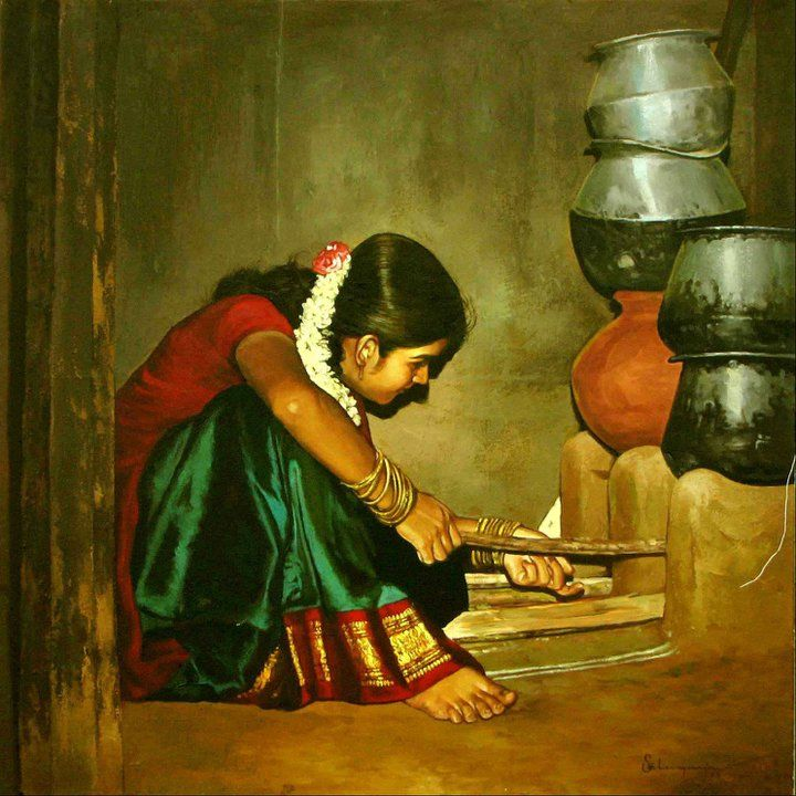 25 Beautiful Rural Indian Women Paintings by Tamilnadu artist ilayaraja. Read full article: http://webneel.com/webneel/blog/25-beautiful-rural-indian-women-paintings-by-tamilnadu-artist-ilayaraja | more http://webneel.com/paintings | Follow us www.pinterest.com/webneel
