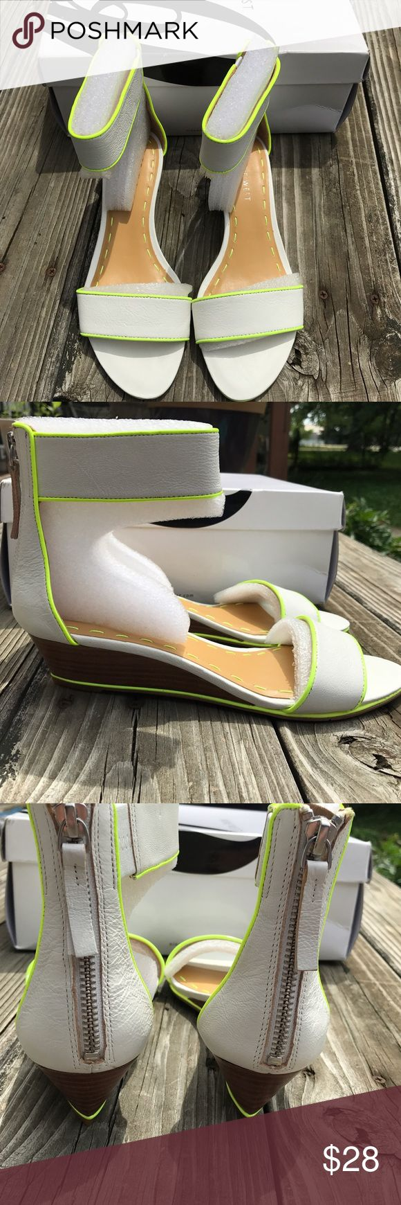 Nine West Vilta Demi Wedge Sandal Size 6.5, brand new in box. White with lime green trim. Bundle with additional items for a 20% discount. Sorry, no trades. Nine West Shoes Sandals