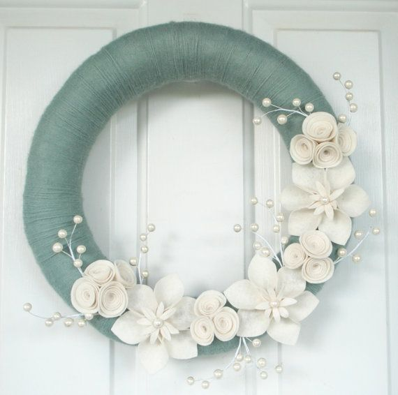 "Soft Aqua Yarn and Felt Wreath, Christmas Wreath, White Felt Flower Wreath - 16"" Size - Ready to Ship on Etsy, $49.95"