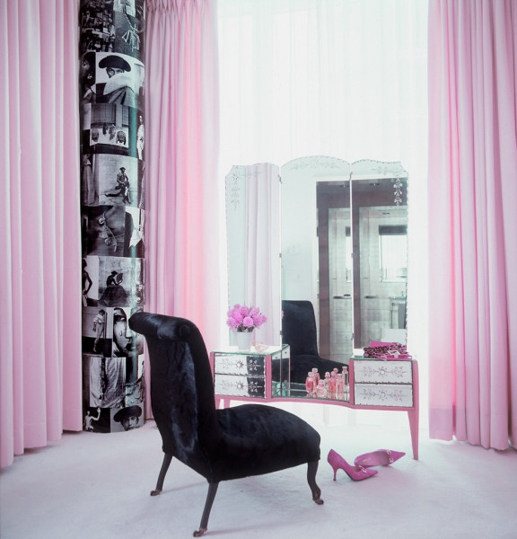 Closet/Vanity Room: Floor to ceiling Pink Curtains in Corner & on windows