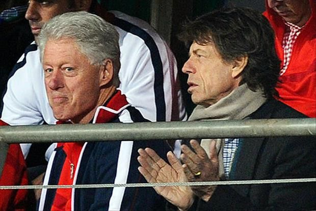"Former President Bill Clinton with Mick Jagger of ""The Rolling Stones."""