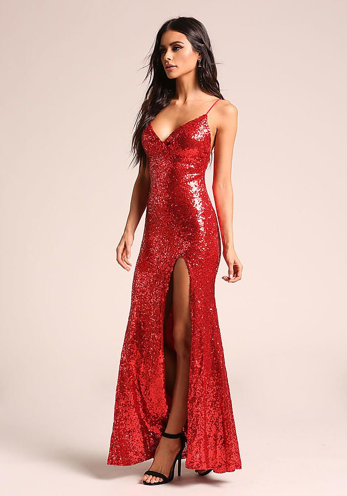728afb0dccb Red Sequin High Slit Maxi Gown - Holiday Dresses - Dresses ...