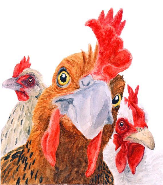 """CHICKEN PRINT 8""""x10""""- kitchen decor, farm art, home decor, chicken artwork, chicken painting, chicken print, chicken watercolor, farm animal"""