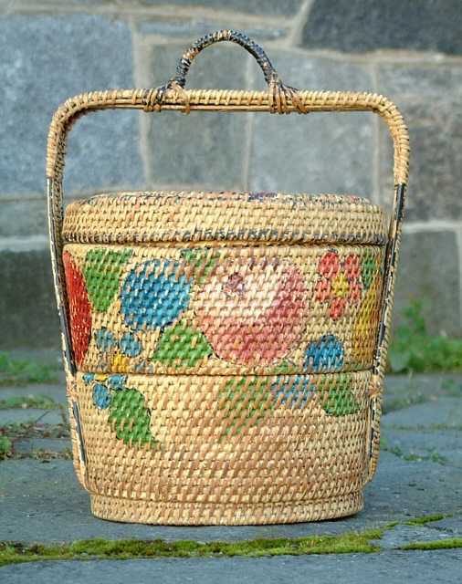 Vintage Chinese Painted Picnic Basket