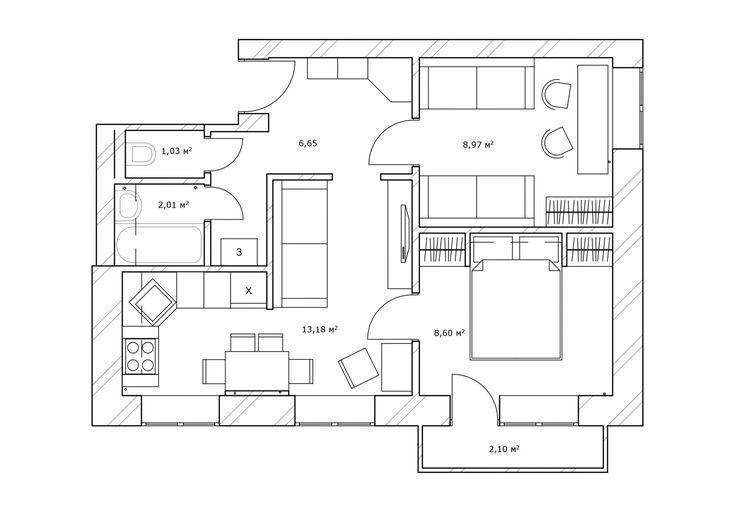 Фото из статьи: Как использовать 41 метр площади с пользой: маленькая квартира для большой семьи