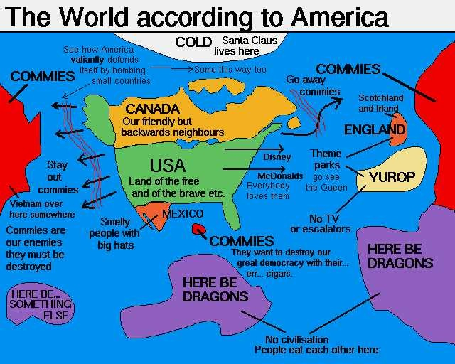 Robinson Projection 100m Scale US Centric World Map Small Best Of