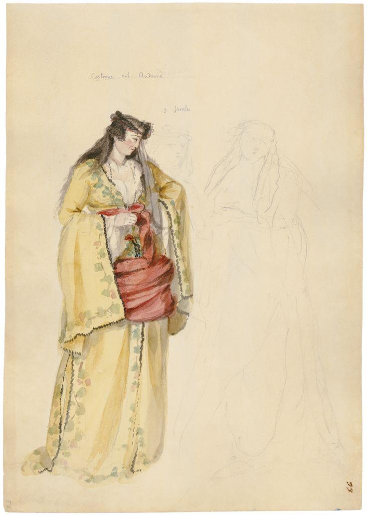"""Γεράσιμος Πιτζαμάνος, Τρεις αδελφές. Ενδυμασία με αντερί (φέρει επιγραφή του ζωγράφου: «Costume col Anderia / 3 Sorele»), 1818/1820, υδατογραφία σε χαρτί, 31,5 x 22 εκ. Απεικονίζεται γυναικεία μορφή με κίτρινο «αντερί». Συλλογή Εθνικού Ιστορικού Μουσείου, Αθήνα. Gerasimos Pitzamanos """"Three Sisters: Costume with Anteri (inscribed by the painter: """"Costume col Anderi/ 3 Sorele""""), 1818-1820, watercolour on paper 31.5x22 cm. It depicts a female figure in a yellow anderi. National Historical…"""