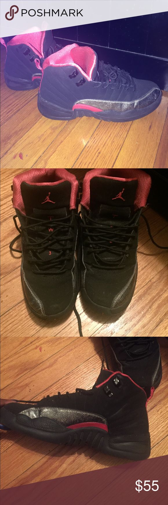 Pink and black Jordan Retro 12 Good condition. Some scuffing on sides from shoes rubbing together. (No box) Jordan Shoes Sneakers