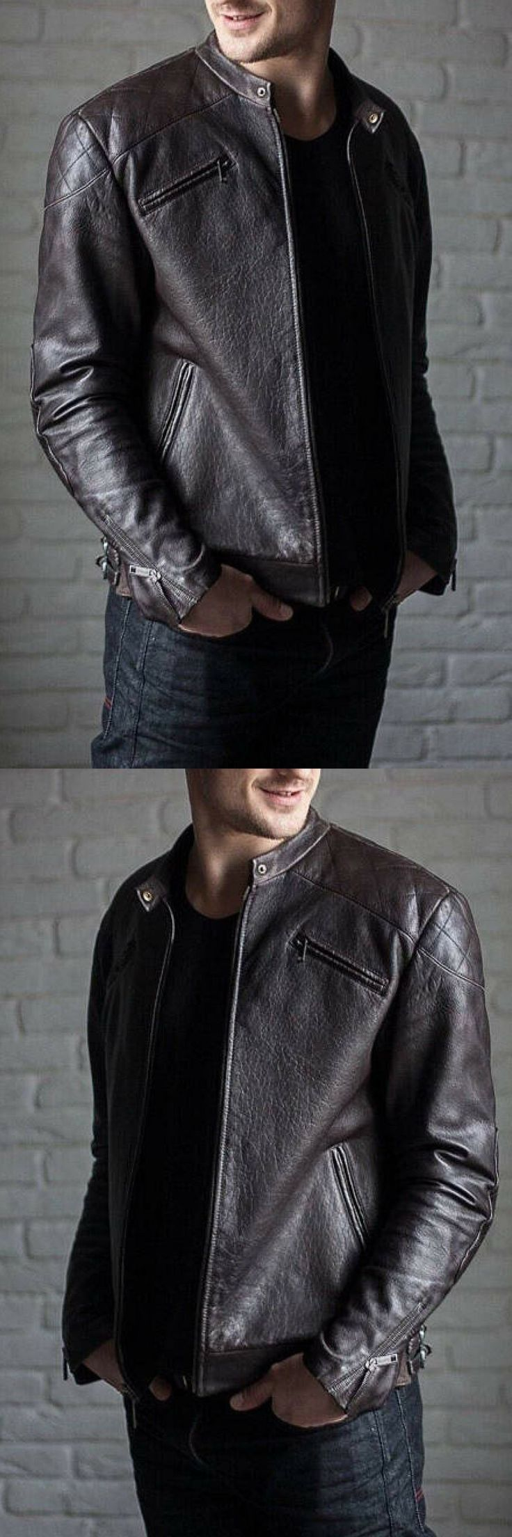 The biker jacket is made from high quality black vintage style leather.  Shoulders and back side of sleeves are decorated with cross stitched  details. The leather motorcycle jacket is zipped in the front and  finished with four zipped pockets. The bottom of the sleeves are  decorated with zips also.  Men's leather jacket, biker jacket men, leather biker jacket, leather biker jacket men. Mens fashion, men's fashion. #ad #mensfashion
