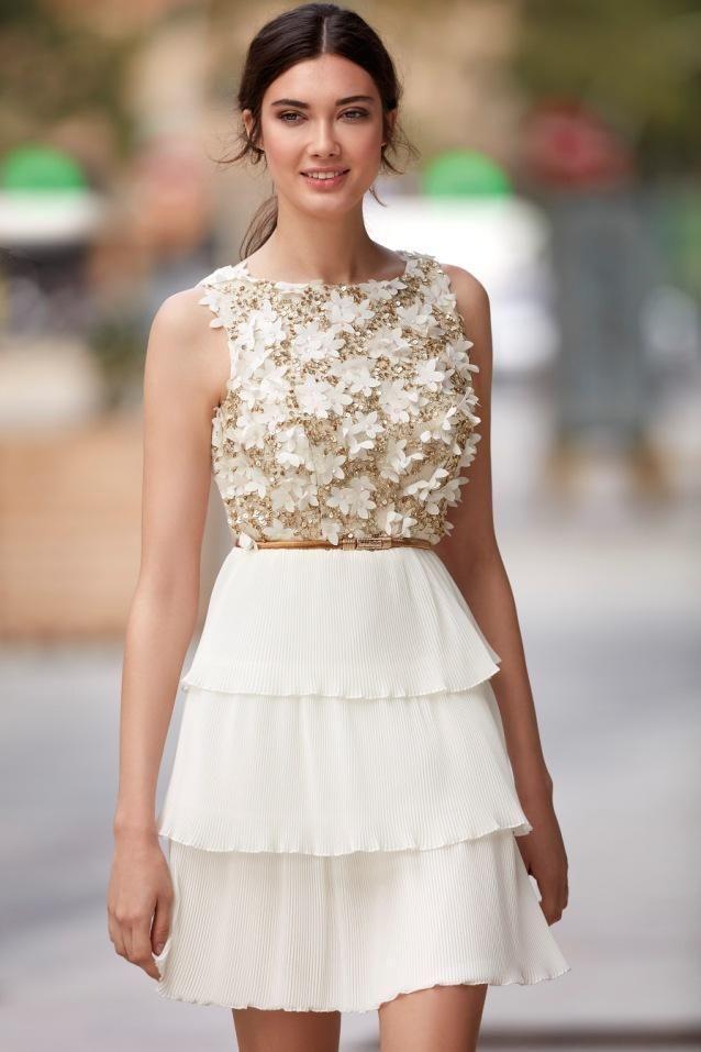 Vestido De Fiesta Blanco Y Dorado Carla Ruiz 94826