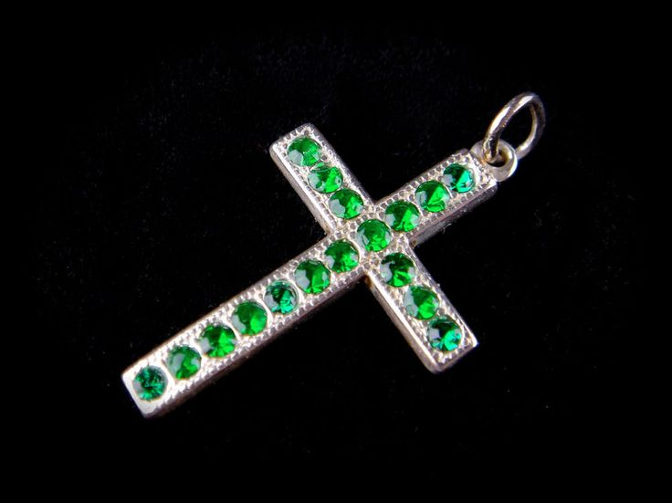 Vintage 925 Sterling Silver Czech Glass Pendant Crucifix Cross Emerald Green #Crucifix